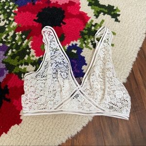 Victoria's Secret White Lace Sheer Bralette Bra